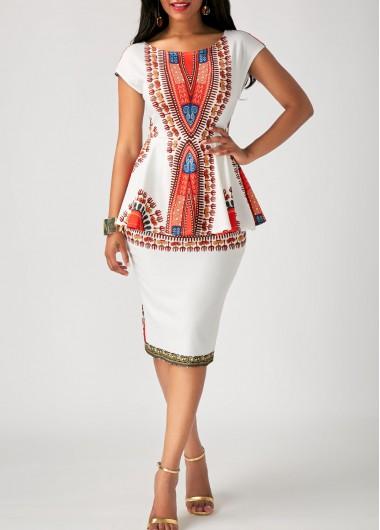Printed White Peplum Waist Sheath Dress on sale only US$33.08 now .
