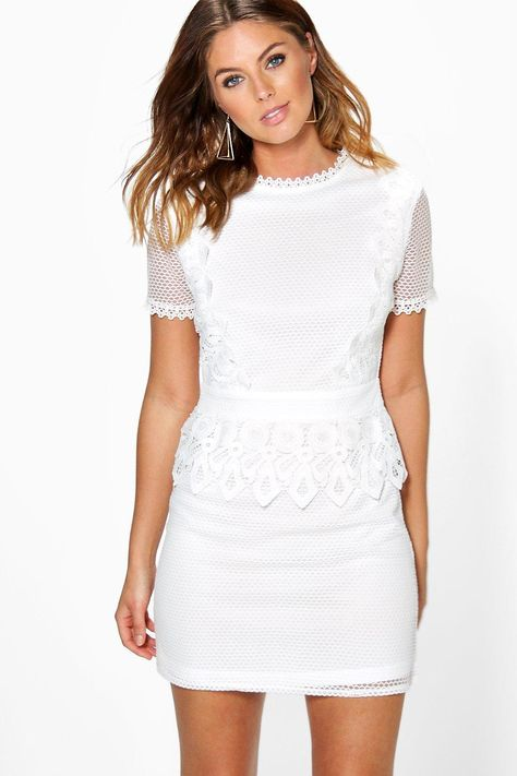 Boutique Crochet Lace Peplum Shift Dress | boohoo | White cocktail .