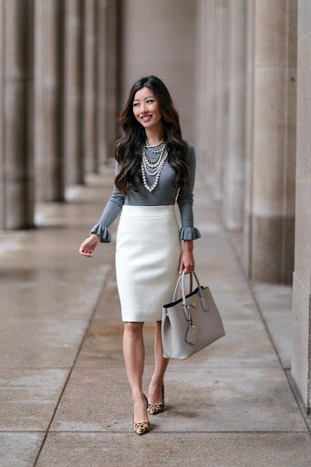 Ann Taylor Fall outfit // ruffle sweater top + wool skirt | Spring .