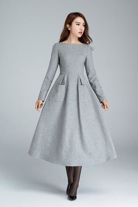 Wool dress, dress with pockets, light grey dress, winter dress .
