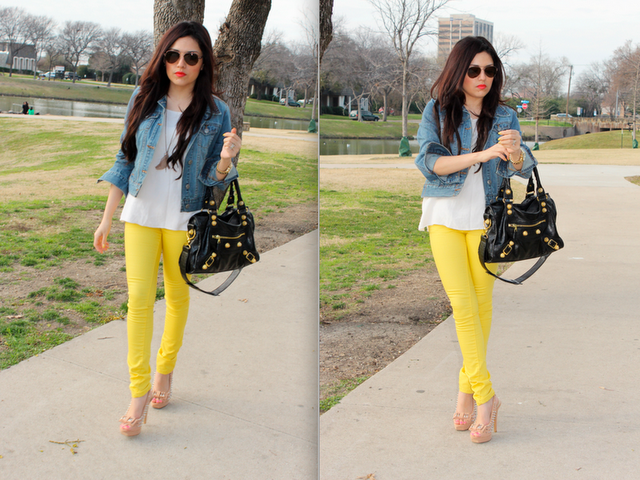 Denim jackets got to go but I definitely love the yellow jeans and .