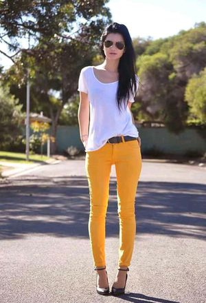 Outfit with outfits with forever21 yellow jeans | Chicisi