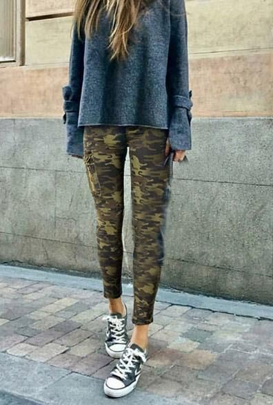 Women's Autumn/Winter High Waist Camouflage Army Pants | Army .