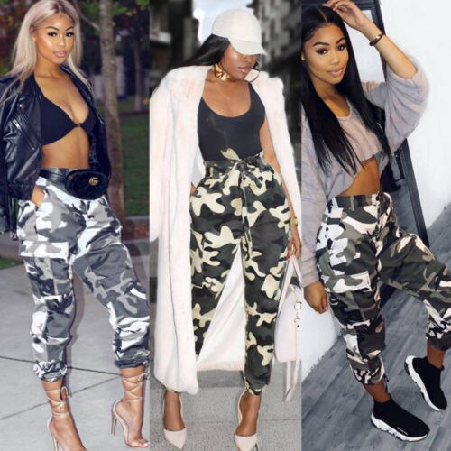 New Fashion Cool Summer Womens Camo Cargo Trousers Casual Pants .