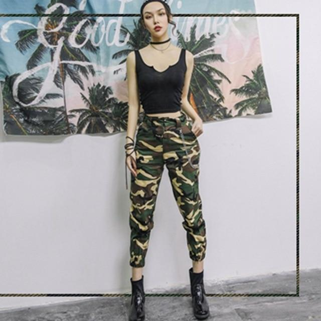 High Waist Army Pants Camouflage Jogger Trousers Women .