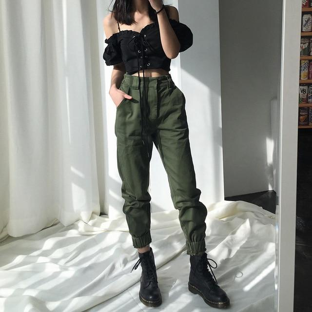 Women's High waist camouflage loose pants punk joggers streetwear .