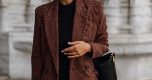 brown oversized blazer over all black #streetstyle #womensfashion .