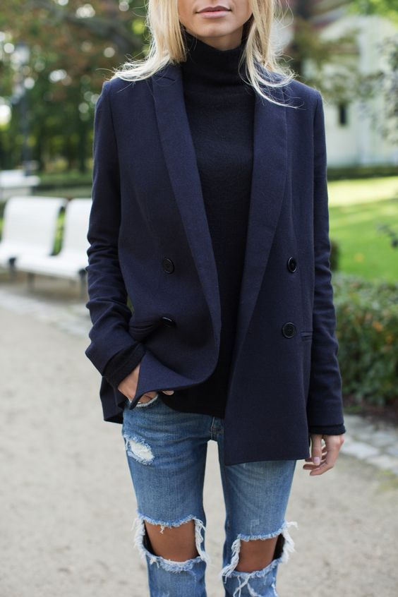 Denim ripped jeans and oversized blazer - love it. (With images .