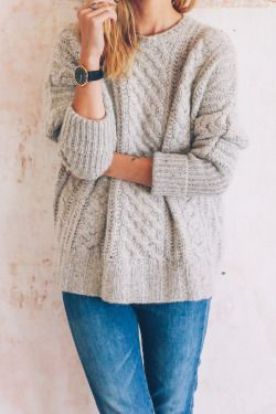 Oversized Chunky Knit Sweater + Denim Jeans - Women's Fashion .
