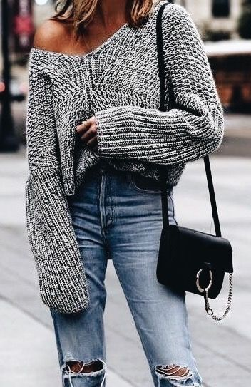 Gray oversized knit sweater with blue jeans. | Fashion, Clothes .