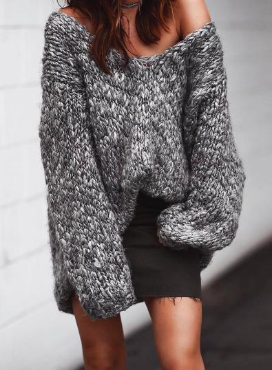 oversized sweater + denim skirt//pinterest: juliabarefoot .