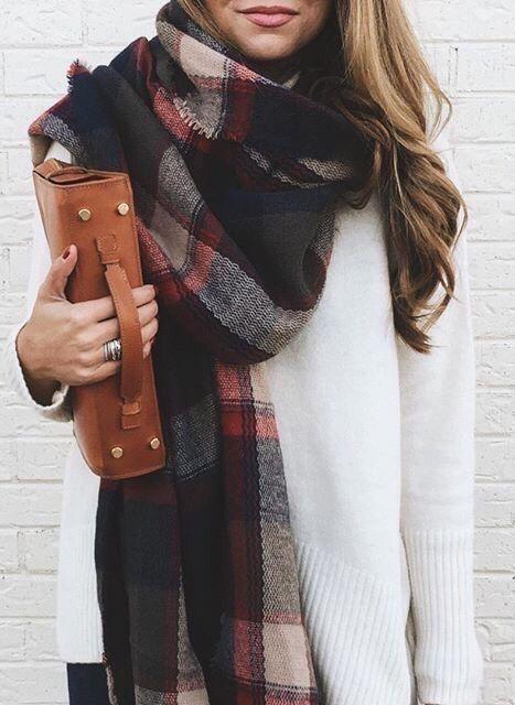 Plaid oversized scarf | Fashion, Autumn fashion, Sty
