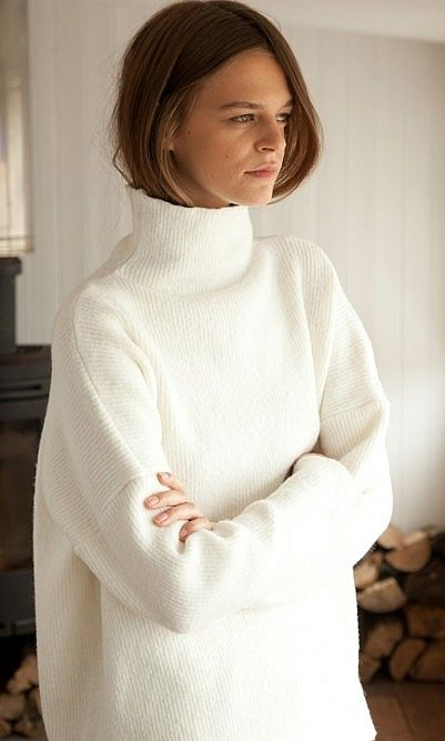 white oversized turtleneck sweater | Knitwear fashion, Fashion, Sty