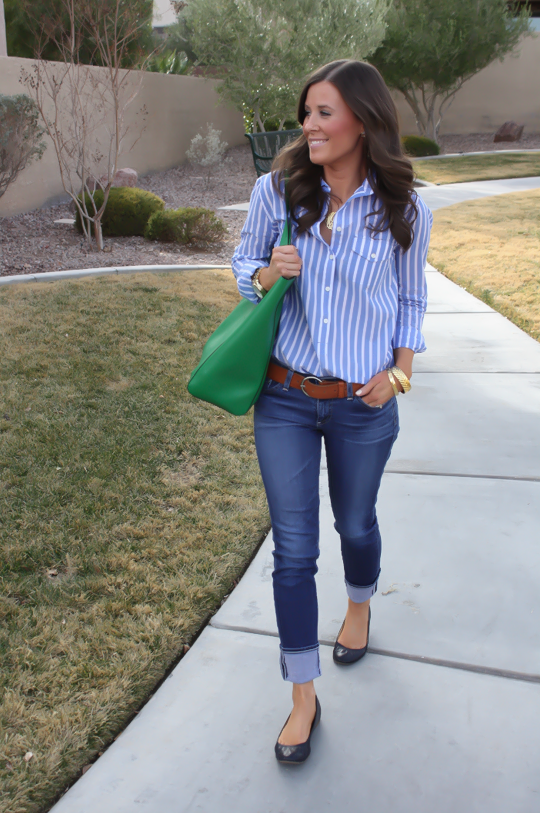 Use blue oxford shirt and roll up jeans. | Cute preppy outfits .