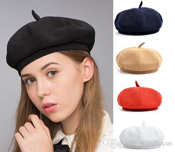 2020 Stand Focus Beret French Beanie Painter Hat Cap Women Female .
