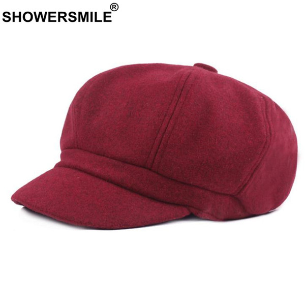Wholesale Burgundy Newsboy Caps Women Solid Wool Painters Hat .