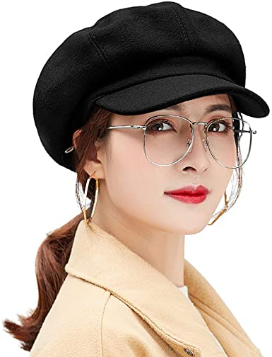AMOY TANG Painter Hat for Women Black Octagonal Cap Outdoor .