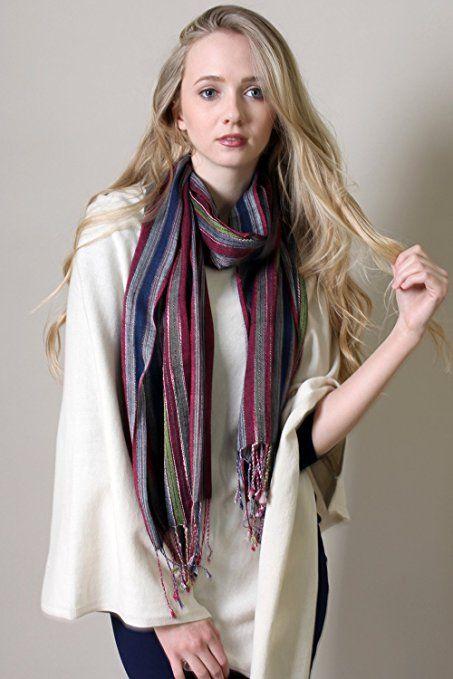 Amazon.com: Women's Jewel Shimmer Multicolor Stripe Scarf .