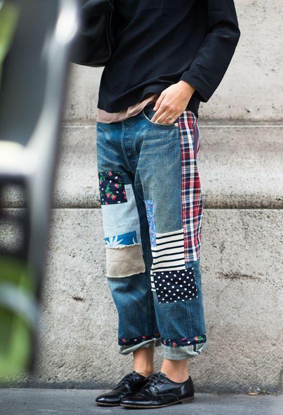 21 Ways to Follow the Patchwork Jeans Trend | 업사이클 옷, 청바지 .