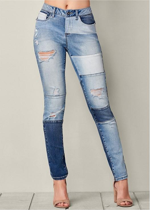 Venus Women's Distressed Patchwork Jeans | Patchwork jeans .