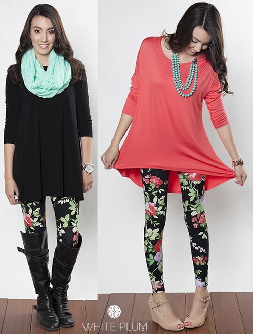 How to Wear Leggings in the Spring | Patterned leggings outfits .