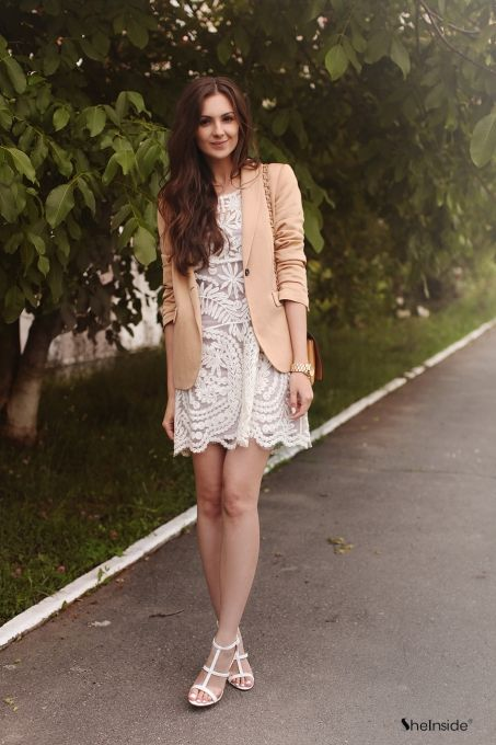 Beige Short Sleeve Embroidery Sheer Lace Dress - Sheinside.com .