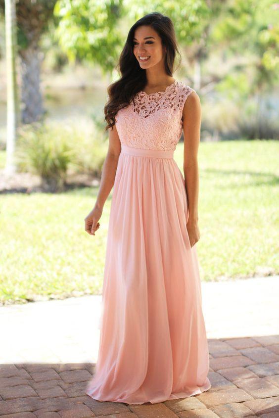 Peach lace bridesmaid dresses, long bridesmaid dresses, chiffon .