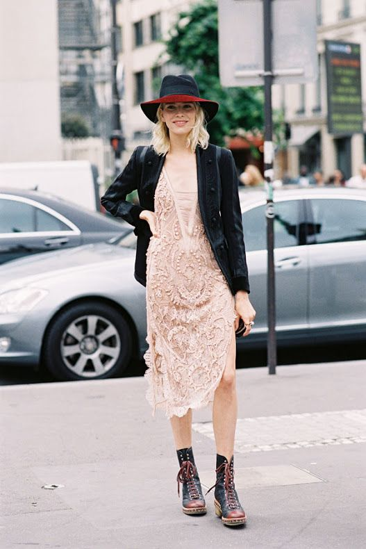 Awesome Outfit Idea: Feminine Dresses & Chunky Boots | Fashion .