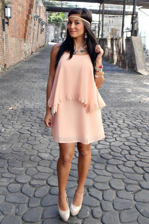 "Just Peachy"" Lace Detail Dress Peach Lace Dress | Lace detailed ."