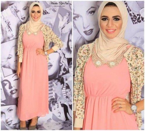 peach maxi dress | Casual hijab outfit, Hijabi fashion, Peach maxi .