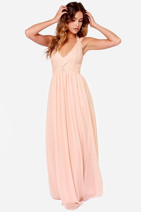 Light Peach Long Dress | Weddings Dress
