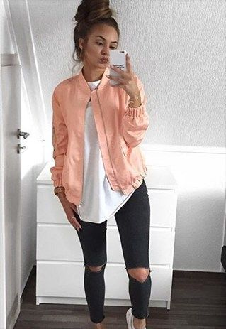 DELTA MA-1 Silky Bomber Jacket - Peach | Bomber jacket outfit .
