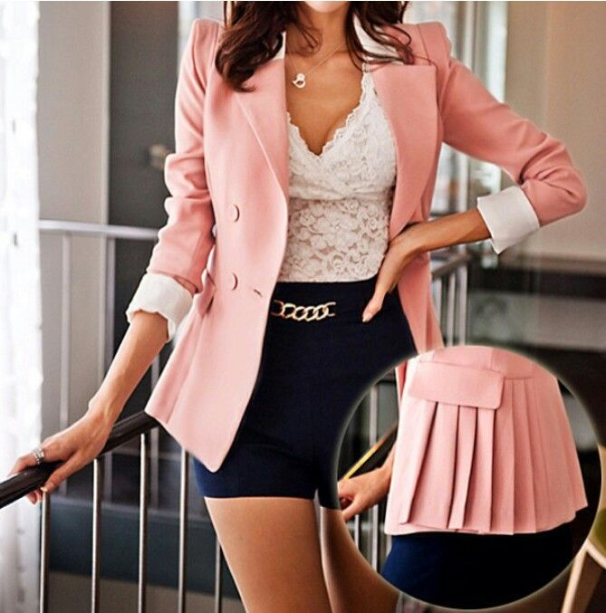 pleated peplum blazer Clothes Casual Outift for • teens • movies .