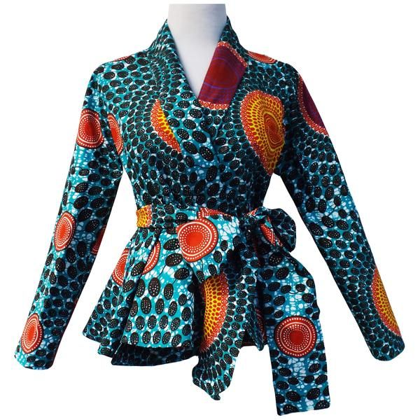 Diola Aqua Circles African Print Ankara Long Sleeve Shawl Collar .