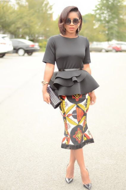 Peplum Top & Ankara Skirt … | African clothing, African dress, Fashi