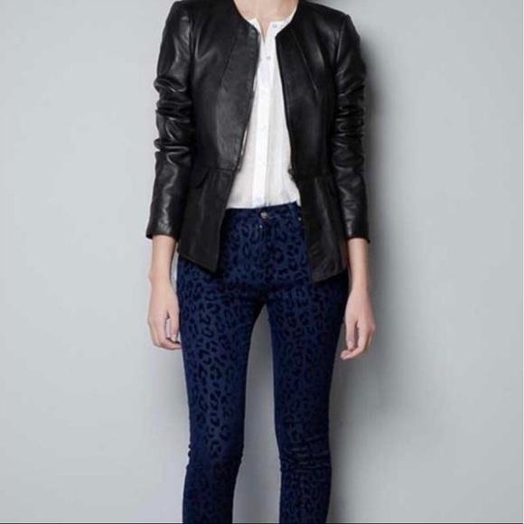 Zara Jackets & Coats | Woman Leather Peplum Jacket | Poshma