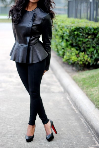 How to Style Peplum Leather Jacket: 15 Cool Outfits of Women .