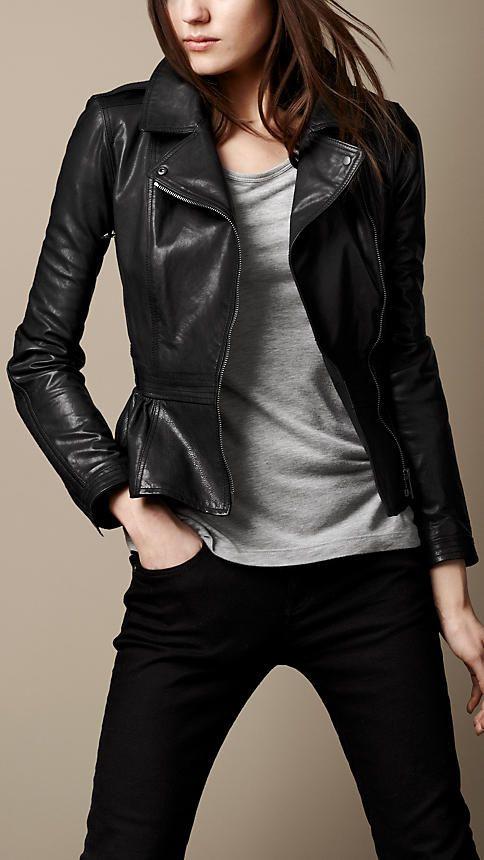 Leather Peplum Biker Jacket | Burberry | Leather peplum, Fashion .