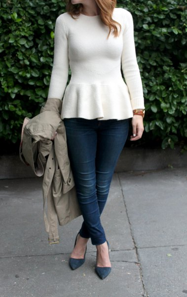 How to Style Peplum Sweater: 15 Attractive Outfit Ideas - FMag.c