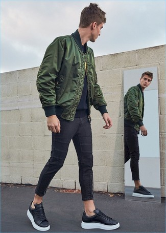 How to Wear a Dark Green Bomber Jacket For Men (150 looks .
