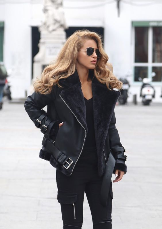 New black faux leather shearling warm women aviator coat winter .