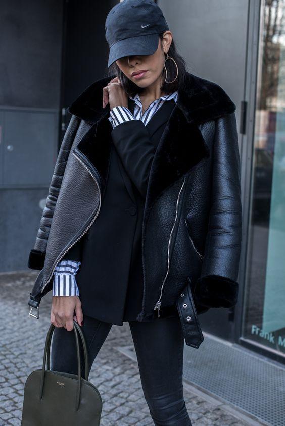 New black faux leather shearling warm aviator women coat winter .