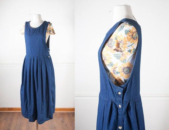 Dark Blue Denim Pinafore Dress Capsule Wardrobe Staple 90s | Et