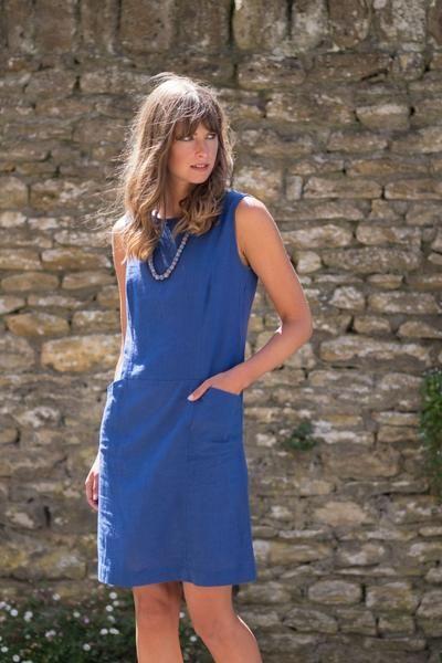Matilde Blue Linen Pinafore Dress | Pinafore dress, Dresses, Fair .