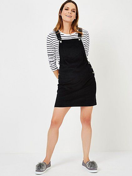 Black Corduroy Pinafore Dress | Women | George | Black pinafore .