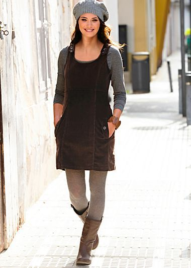 Cute outfit idea for Fall! Corduroy pinafore dress, leggings .