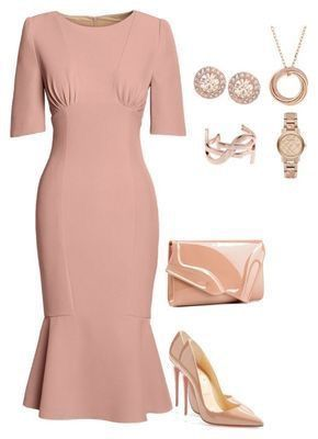 Pink dress, rose gold accessories | Fashion, Classy outfits .