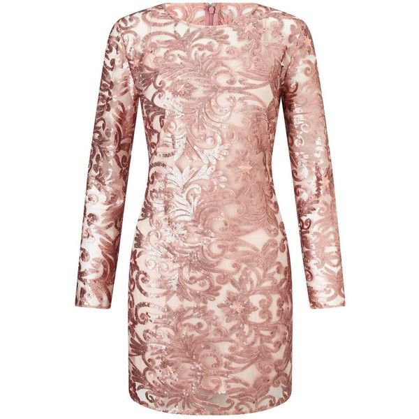 Miss Selfridge PREMIUM Rose Gold Sequin Mini Dress ($195) ❤ liked .
