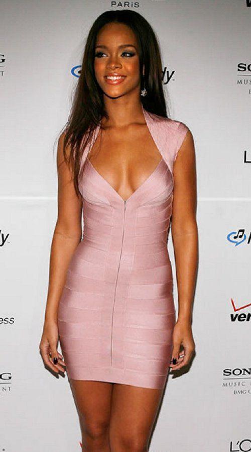 Pretty light pink cap sleeve bandage dress as seen on Rihanna .