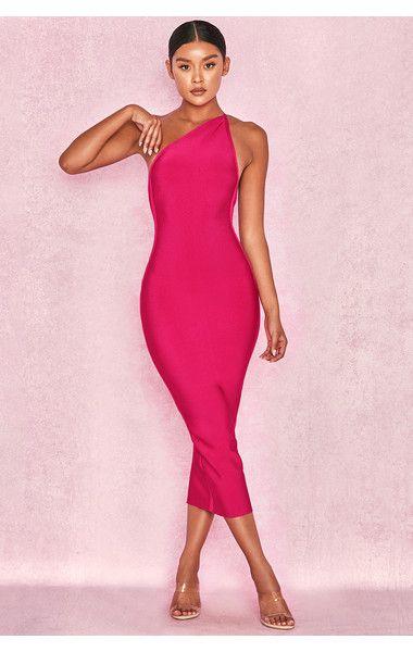 Clothing : Bandage Dresses : 'Sasha' Hot Pink One Shoulder Bandage .
